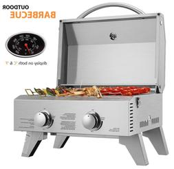 2 burner portable stainless steel barbecue table