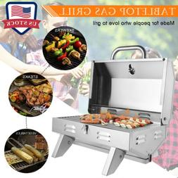 2 Burner Portable Stainless Steel Grill Outdoor Barbecue Tab