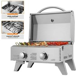 VIVOHOME 2 Burner Stainless Steel Barbecue Table Top Propane