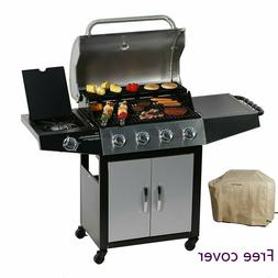 MASTER COOK BBQ 4-Burner Cabinet Propane Gas Grill with Side