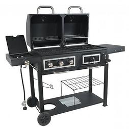 Dual Fuel Charcoal Gas Grill Combination BBQ Outdoor Cooking