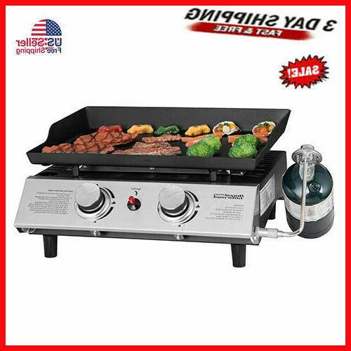 2 Steel BBQ Propane Gas Grill Outdoor Camp