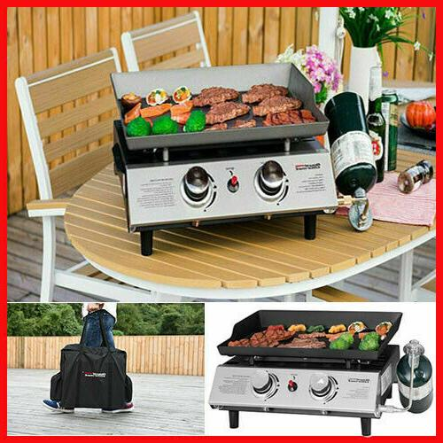 2 Burner Steel Table Top Propane Gas Grill Camp