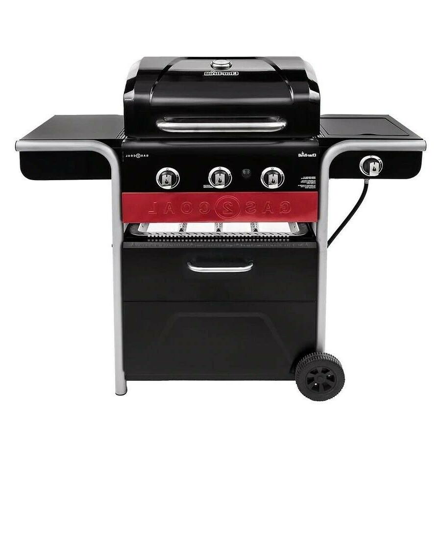 Portable Grill 3 Burner Gas Propane Charcoal Stove Outdoor B