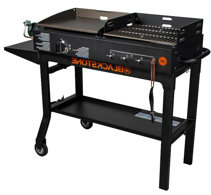 Gas Griddle Charcoal Grill Combo Flat Top Hibachi Barbecue B