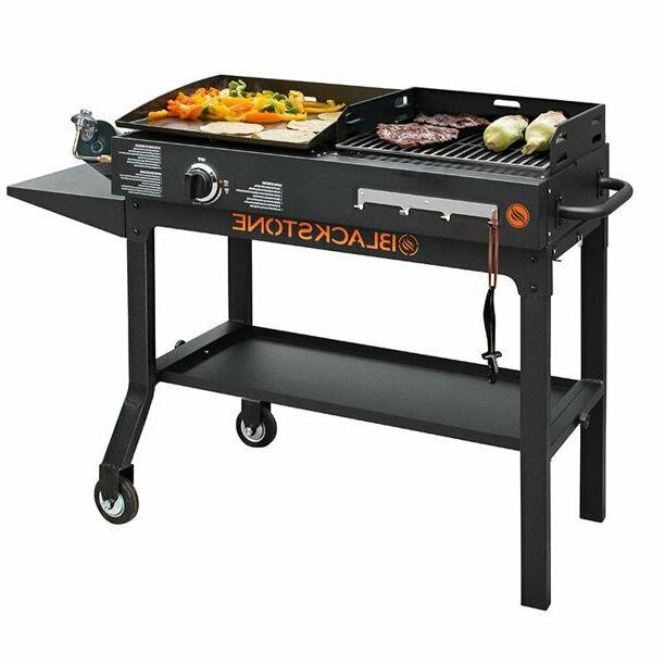Blackstone Duo Grill Combo Griddle Charcoal Gas Bbq Outdoor