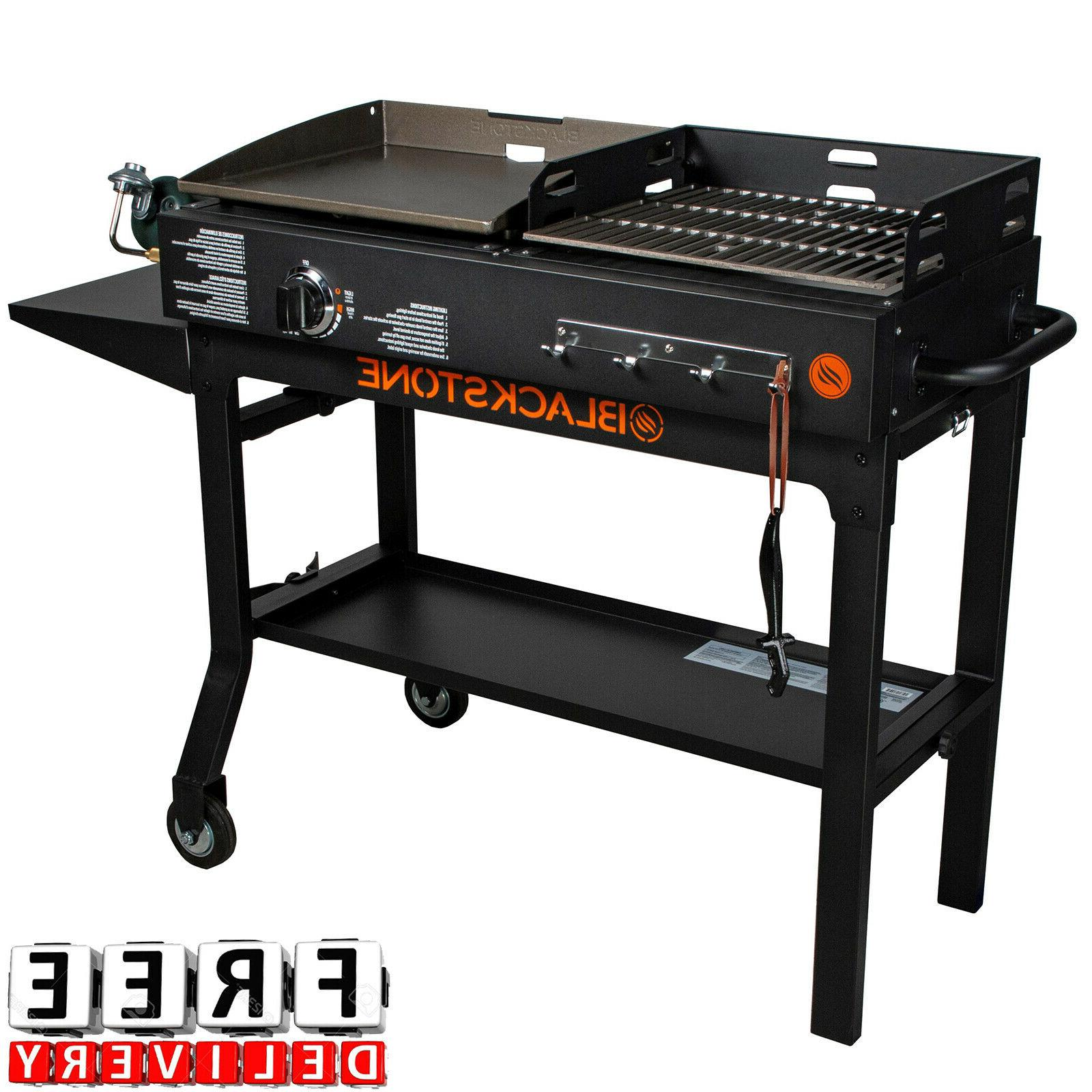 Outdoor Gas Grill Flat Top 2 Burner Portable Charcoal Griddl