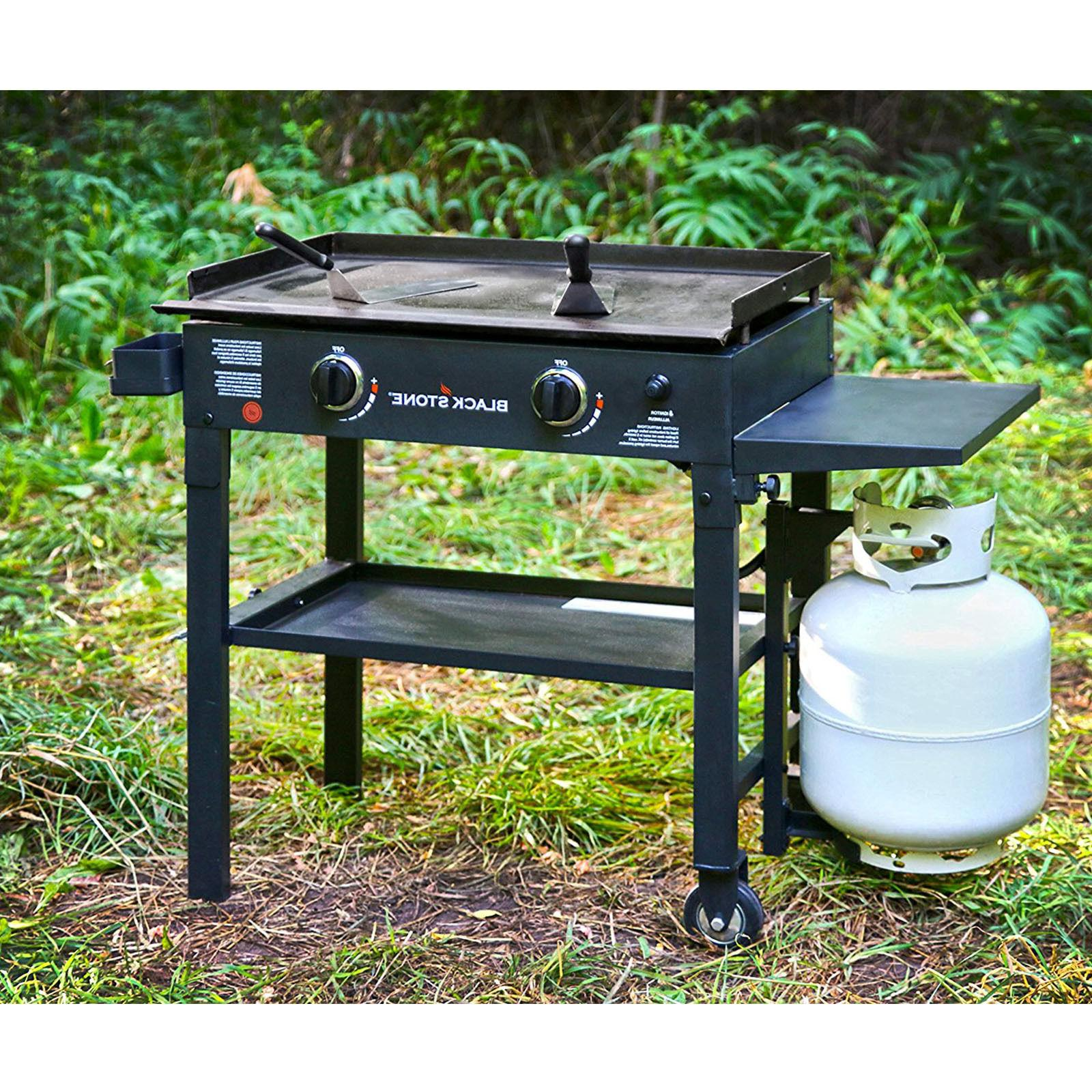 Outdoor Gas Grill Flat Top 2 Burner Portable