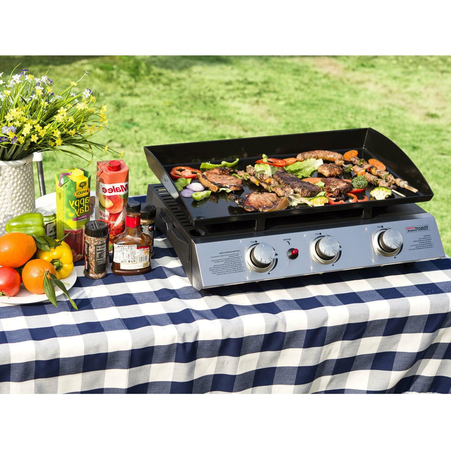 Royal Gourmet Portable 3-Burner Grill Griddle Camping