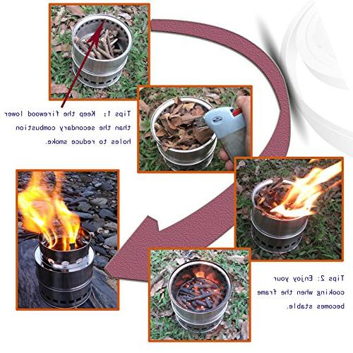 SOLEADER Wood Camp Stoves Gasifier - Stove For Backpacking