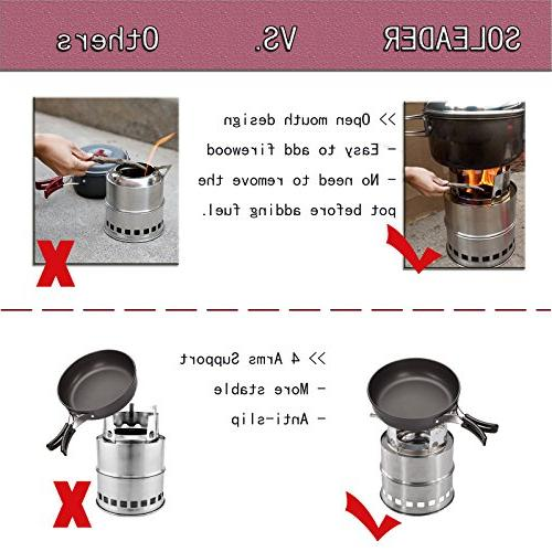 SOLEADER Portable Camp Gasifier Stove - Twig Stove Backpacking The