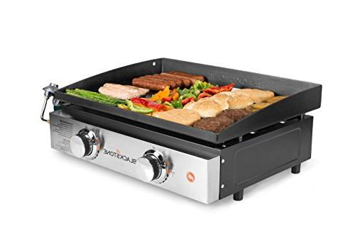 22 Portable Griddle Propane - 2 - Rear Grease While Tailgating or Picnicking Black