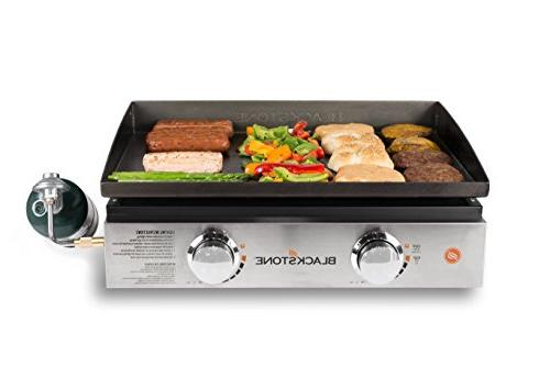 Blackstone Tabletop Grill - 22 Inch Gas Griddle - Propane - Adjustable - Rear Grease - For While Camping, Picnicking Black