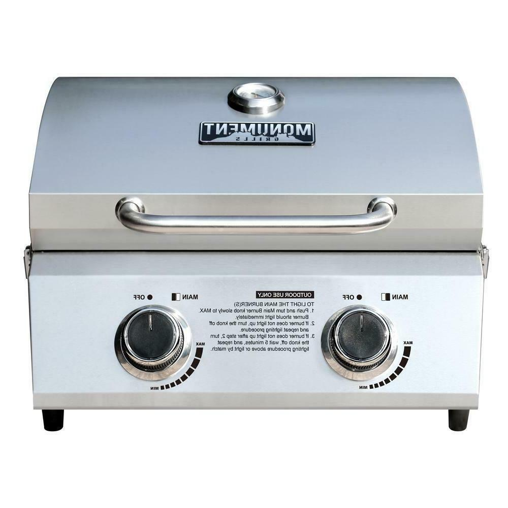 Monument Tabletop Propane Gas Grill 2 Burner Portable