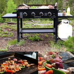 Outdoor Gas Grill Flat Top 4 Burner Portable Griddle Propane