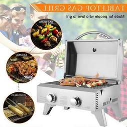 Outdoor Portable Stainless Steel Propane Gas 2 Burner BBQ Gr
