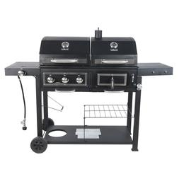 Outdoor Propane BBQ Dual Fuel Combo Gas Charcoal Grill Cast