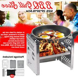 Portable Stainless Steel Gas Charcoal Fold Bbq Grill Outdoor