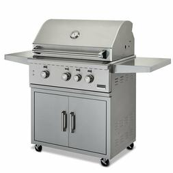 """Broilmaster Stainless 34"""" Gas Grill On Cart- Cast Stainless"""