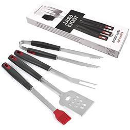 Deway Stainless Steel BBQ Tools Set, 4 Pieces Heavy Duty Gri